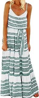 Women's Dresses Belted Tie Waist Summer Bohemian Spaghetti Strap Loose Swing Long Maxi Dress