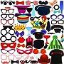 Faburo 58Pcs Photo Booth Atrezzo Favorecer Incluyendo Bigotes Gafas Pelo Sombreros...