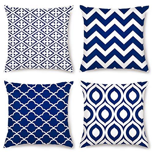 Artscope Juego de 4 fundas de almohada geométricas modernas, con impresión de doble cara, fundas de cojín para sofá, coche, casa de campo, decoración del hogar, 45 x 45 cm, azul marino