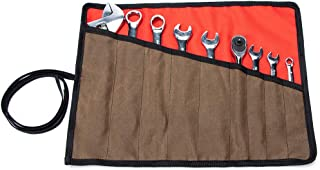 Wrench Roll Up Pouch, Waxed Canvas Tool Pouches, Heavy Duty Chisel Roll Bag,9 Pockets Tool Roll Organizer, Roll Up Tool Storage Bag For Craftmen,Electrician, HVAC, Plumber, Carpenter Or Mechanic