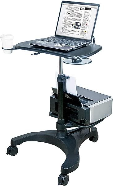 Aidata Ergonomic Sit Stand Mobile Laptop Cart Work Station With Printer Shelf Model LPD009P