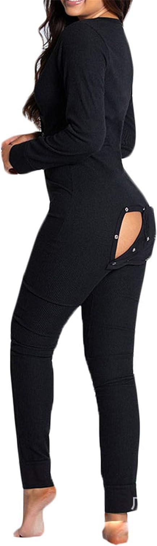 Andongnywell Womens One Piece Pajama Thermal Underwear Set Sleepwear Pajama Jumpsuit Long Sleeve Jumpsuits