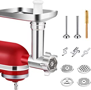 Metal Food Grinder Attachments for KitchenAid Stand Mixers, Durable Meat Grinder Attachment Compatible with All KitchenAid Stand Mixers, includes Two Sausage Stuffer Tubes
