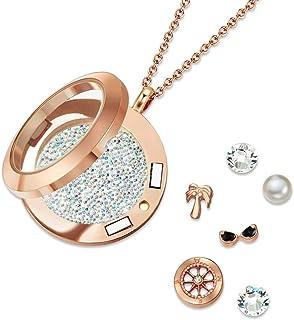 Mestige Women Glass Rose Gold Explorer Floating Charm Necklace with Swarovski Crystals