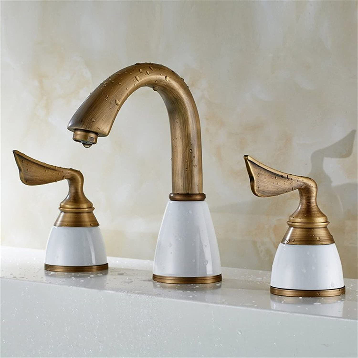 Hlluya Professional Sink Mixer Tap Kitchen Faucet Antique copper basin-wide three-cooled heat sink faucet sink basin mixer, three holes in the copper antique Faucet