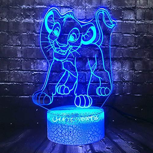 table de chevet enfant,Film Roi Lion Figure Animal Simba 3D Led Chambre Roi De La Jungle Décor Table Humeur Nuit Lumière Partie Fournir Enfants Cadeau De Noël Jouet