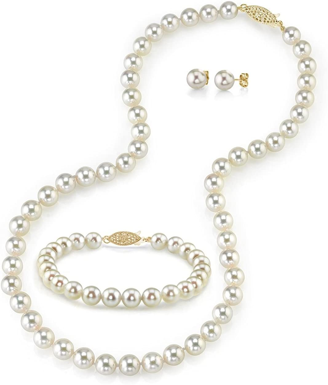 THE PEARL SOURCE 14K Gold 7-7.5mm Round Cultured Akoya National uniform free shipping White specialty shop Pea