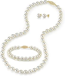THE PEARL SOURCE 14K Gold 6-6.5mm AAA Quality Round White Akoya Cultured Pearl Necklace, Bracelet & Earrings Set in 18