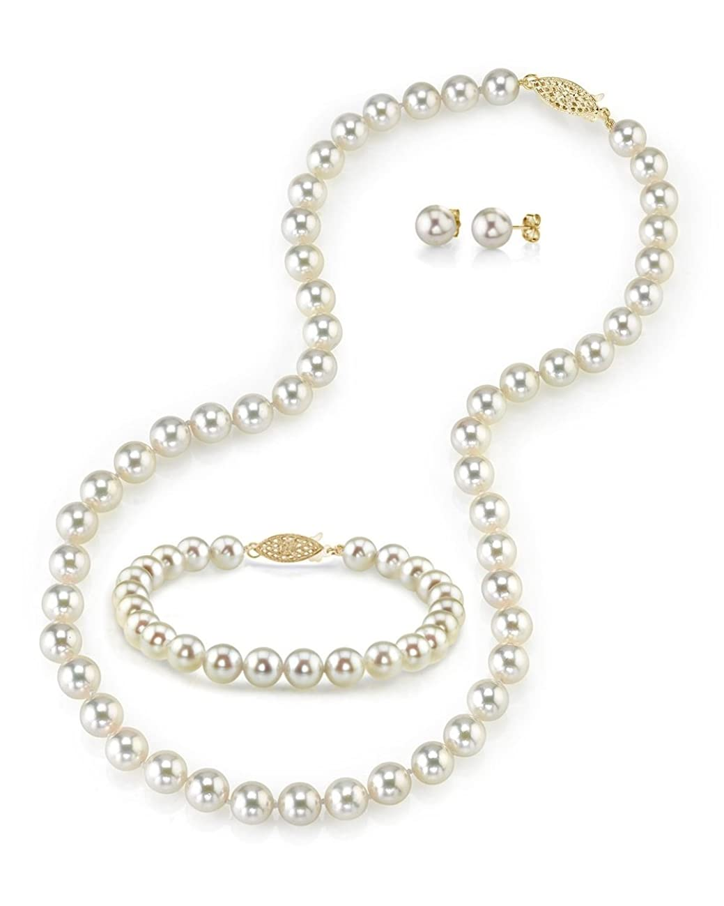 THE PEARL SOURCE 14K Gold 7-7.5mm Round White Akoya Cultured Pearl Necklace, Bracelet & Earrings Set in 17