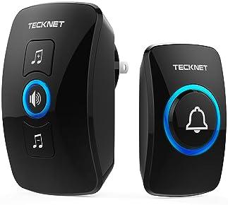 Wireless Doorbell, TeckNet Waterproof Wireless Door Bell Chime Kit, Operating at 1000 feet Range with 32 Chimes, 4 Vo...
