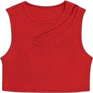 NVDENIMME Women's Cotton Basic Sleeveless Racerback Crop Tank Top Sports Top for Women Athletic Running Shirts