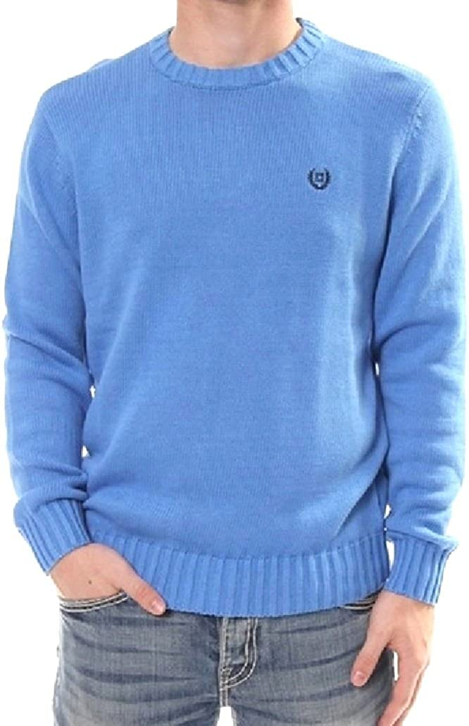 CHAPS Mens Thick Cotton Pullover Sweater Crew Neck Solid Blue