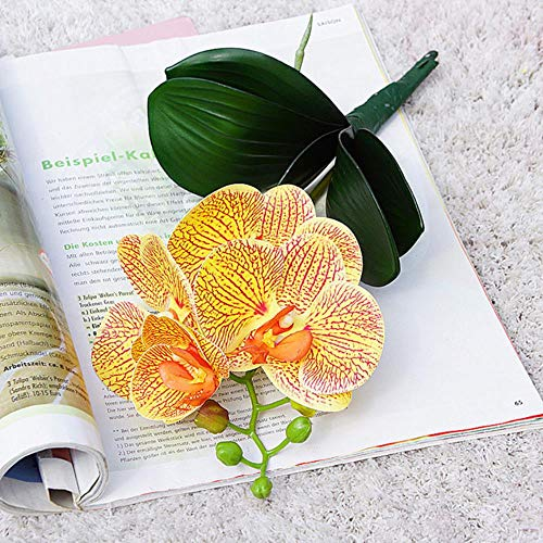 4Hoofden / tak Orchidee minitak met stengelbladeren Kunstbloemen Vlinderorchidee voor thuis Bruiloft Decoratie flores, F