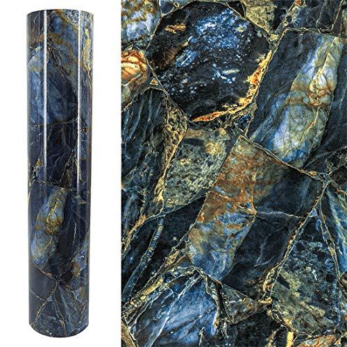 GLOW4U Papel de pared de mármol de vinilo brillante para encimeras de cocina, mesa autoadhesivo, revestimiento de granito (15.7 x 117 pulgadas)