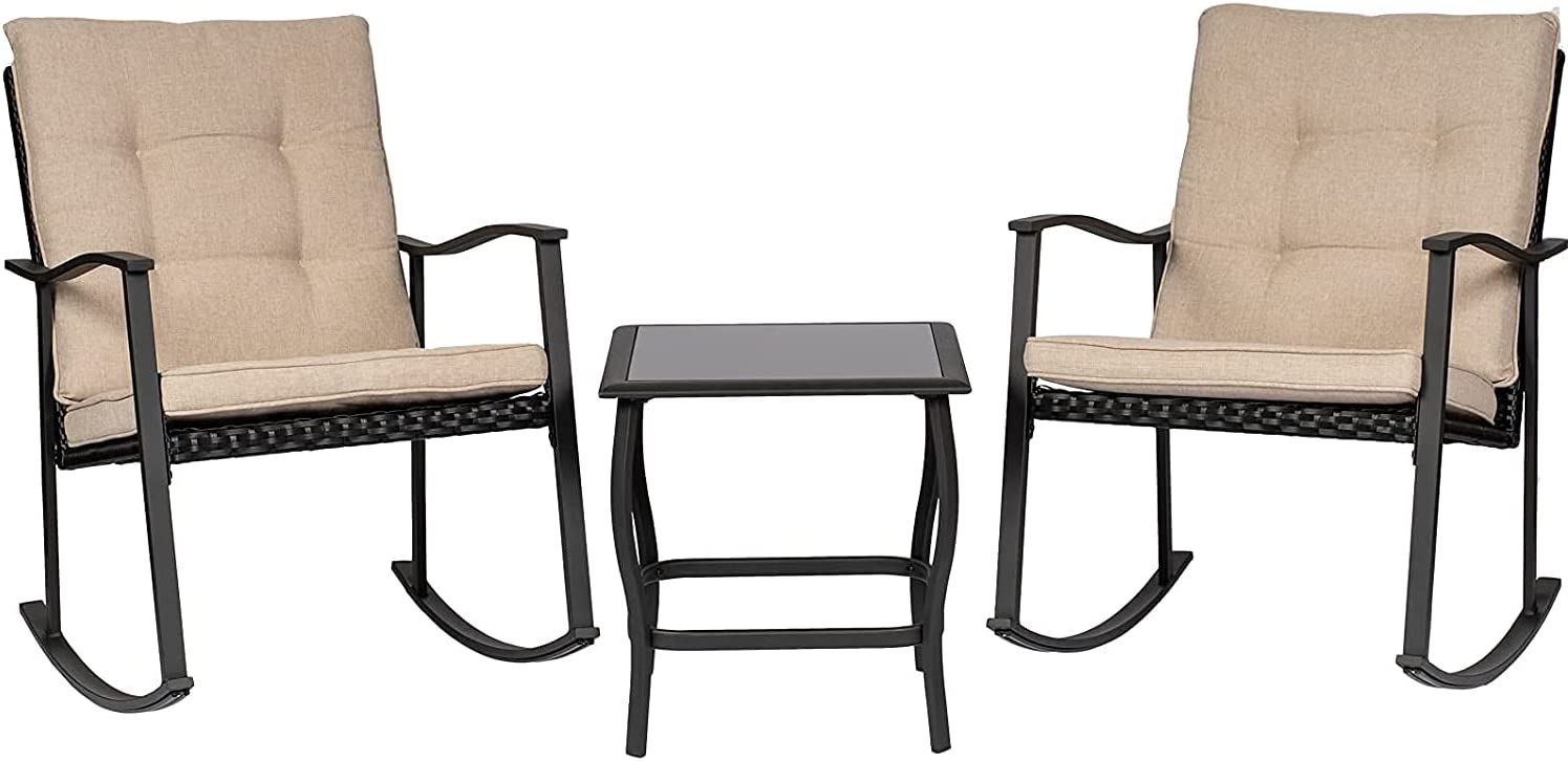 Incbruce We OFFer at cheap prices Outdoor Rocking Max 77% OFF Chair Bistro 3-Piece Patio Set Furnitur