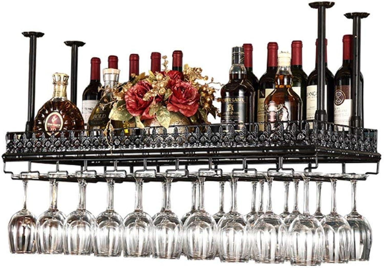 Red Wine Shelf Bar Table Wine Glass Holder Goblet Wine Rack Red Wine Glass Hanging Rack Red Wine Glass Rack Upside Down Rack Red Wine Glass Wine Cabinets (color   Black, Size   60cm35cm)
