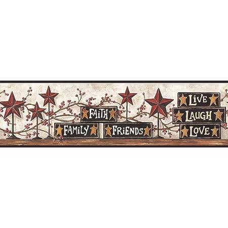 Chesapeake PUR44632B Rue Wheat Swan Star Collage Wallpaper Border
