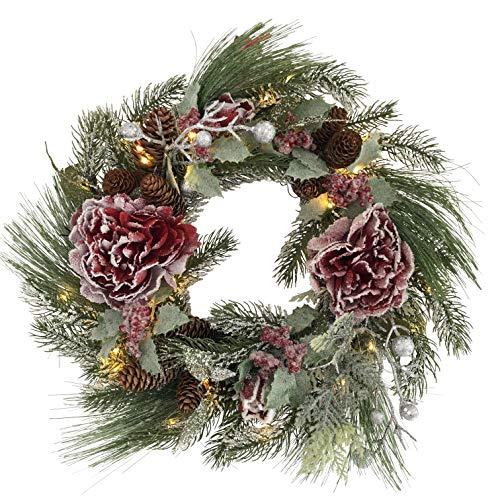 OF Türkranz, Weihnachtskranz mit 50 warmweißen LED Lichterkette und Timer - Batteriebetrieben - Adventskranz (Rote Rosen)