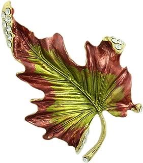 Lilylin Designs Burgundy and Green Enamel and Crystal Leaf Brooch Pin