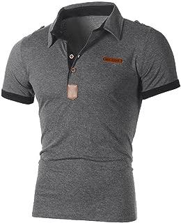 Men's Polo Shirt, Casual Slim Button Down Short Sleeve Top