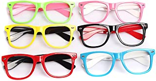 Set of 6 Kids Children Candy Colour Fashion Cute Glasses Frame Without Lenses Nerdy Retro Glasses Party Supplies (Colour Random) (B#)