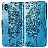 Bravoday Handyhülle für Xiaomi Redmi 7A Hülle, Stoßfest PU Leder Tasche Flip Hülle Schutzhülle für Xiaomi Redmi 7A, mit Kartenfäch und Kickstand, Blau