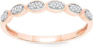 Elmas 1/10ct Round White Diamond 10K White Yellow Rose Gold Wedding Band Ring for Women