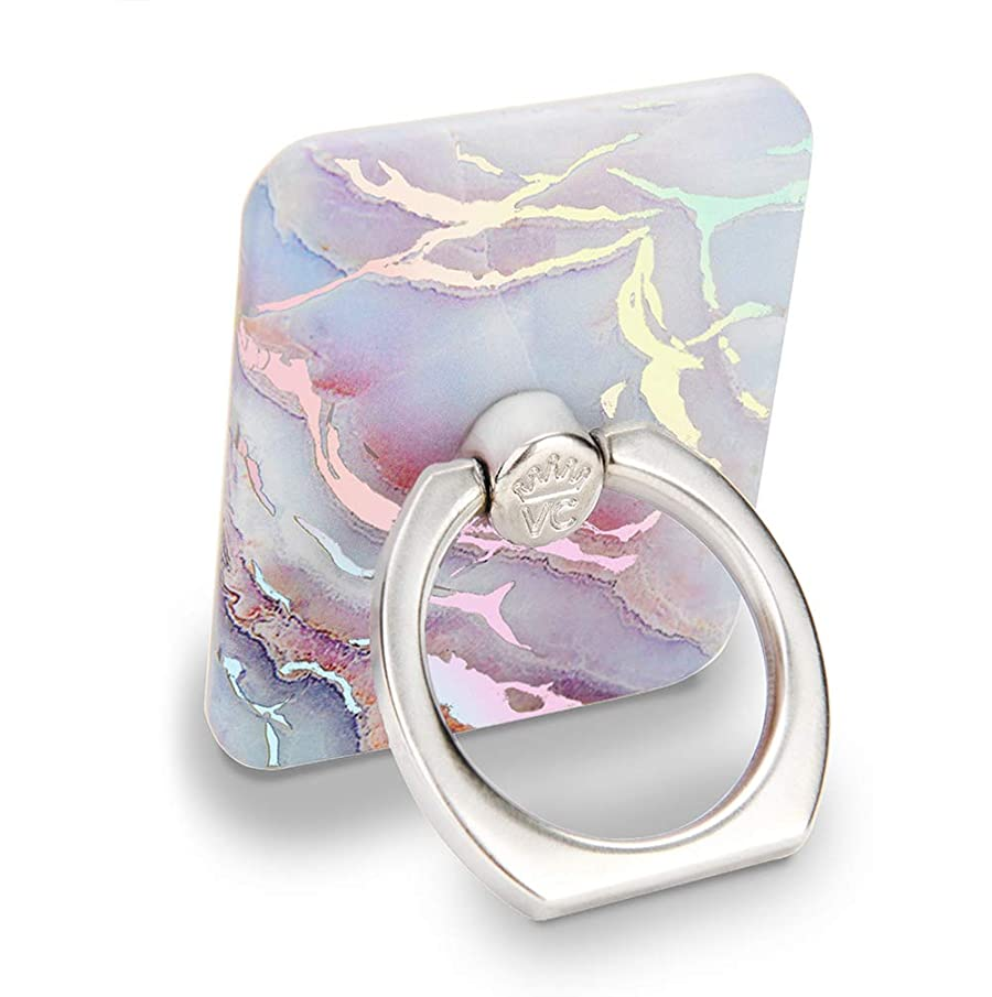 Velvet Caviar Cell Phone Ring Holder - Finger Ring & Stand - Improves Phone Grip Compatible with iPhone, Galaxy and Most Cases (Except Silicone/Leather) - Moonstone Holographic Pink Blue Marble