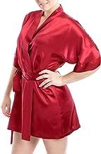 OSCAR ROSSA Women's Luxury Silk Sleepwear 100% Silk Sexy Short Robe Kimono