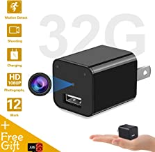 Mini Camera Charger - Home Surveillance - 1080p USB Wall Charger Camera Recorder - Included 32GB Memory Card (Black)
