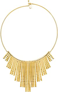 Gold Flashed Base Metal Fringe Fashion Choker Necklace