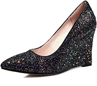 BalaMasa Womens Studded Beaded Sequins Urethane Pumps Shoes APL11232