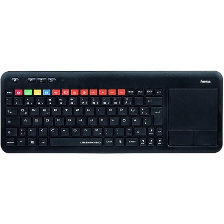 Hama uzzano 3.0 - QWERTY español Teclado inalámbrico con Funciones específicas Samsung Smart TV, con touchpad táctil, Color Negro.