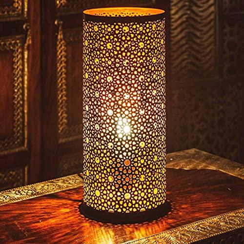 Lámpara de mesa pequeña oriental Naziha 30 cm, color negro, lámpara de mesa marroquí pequeña de metal, pantalla negra | lámpara de mesa moderna para estilo vintage, retro y rústico.