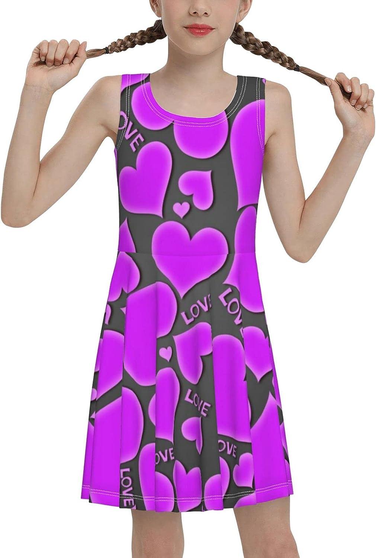 Love Heart Art Sleeveless Dress for Girls Casual Printed Lightweight Skirt