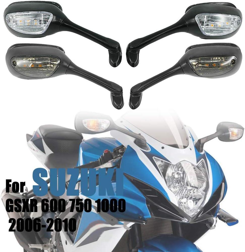 Motocicleta Espejos para Suzuki GSXR 600 750 1000 GSXR600 GSXR 750 2006-2010 K6 K7 K8 Motorcycle Retroview Espejos LED Gurn Signal Lights Accesorios Color : Clear