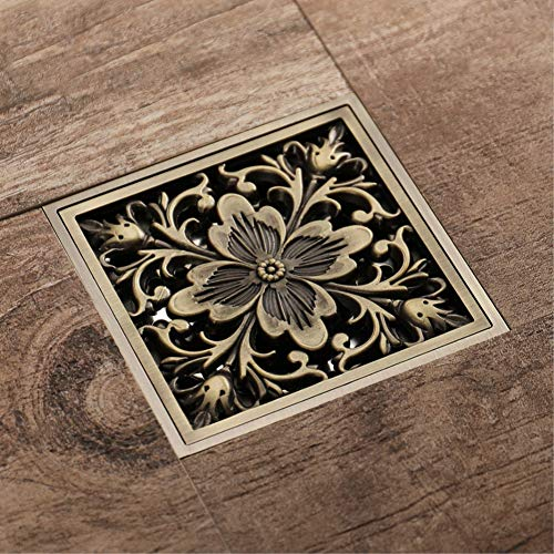 YHSGY Bronze Messing Blume Deodorant Badezimmer Dusche Platz Kupfer Duschablauf Küche Galvanisierter Rost Bodenablauf