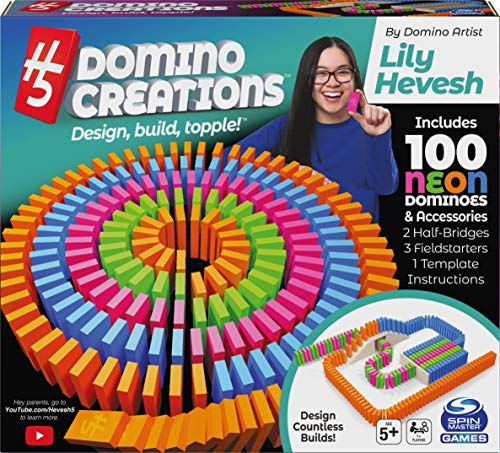 H5 Domino Creations 100-Piece Neon Set by Lily Hevesh, for Families and Kids Ages 5 and up