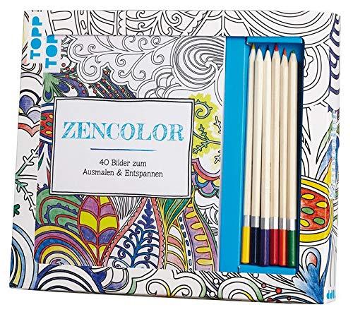 Kreativ-Set Zencolor (Ausmalen für Erwachsene): Buch mit 40 Seiten zum Heraustrennen und 6 Buntstiften (Buch plus Material)