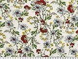 ab 1m: Blumendruck, Viskose, natur-rot-blau, 140cm breit
