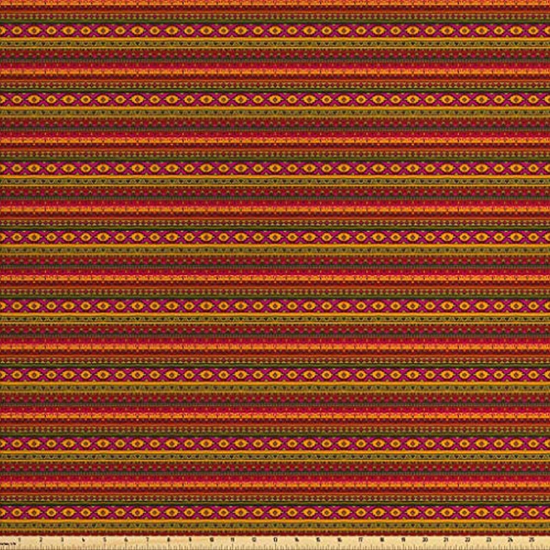 Lunarable Aztec Fabric by The Yard, South American Abstract Borders Mexican Peruvian Folk Art Elements Boho Doodle, Decorative Fabric for Upholstery and Home Accents, 3 Yards, Pink Green Orange
