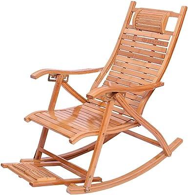 Amazon.com: Silla de balancín de bambú ajustable, reclinable ...