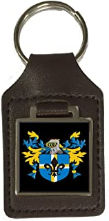 Ayre Family Crest Surname Coat Of Arms Brown Leather Keyring Engraved