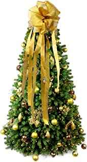 PartyTalk Gold Glitter Christmas Tree Topper Bow Wired Edge Christmas Ribbon for Christmas Tree Decorations, Extra Large Bow Topper 12