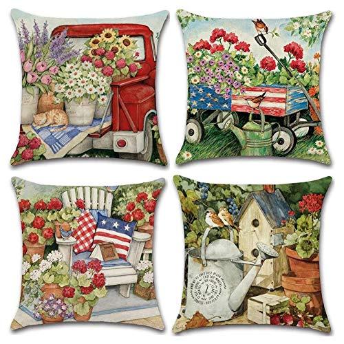 Suading Fundas de almohada decorativas modernas de algodón y lino, cuadradas, fundas de cojín para sofá, cama, coche