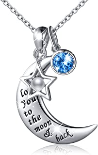 """S925 Sterling Silver """"I Love You to The Moon and Back""""Charm Crescent Star/Love Heart Pendant Necklace Forever Love for Mom,Wife,Lover,Couple"""
