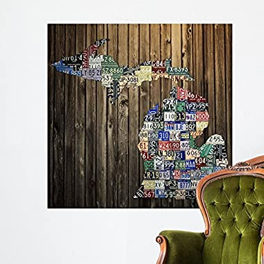 Wallmonkeys Michigan Counties License Plate Wall Mural by Design Turnpike (48 in H x 48 in W) WM97985
