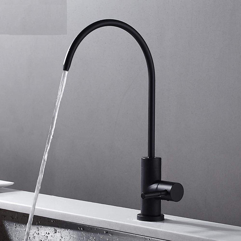 Küchenarmatur Wasseraufbereiter Wasserhahn Europa Stil insgesamt Messing Single Cold Küchenarmatur drehbar Schwarz Küchenmischbatterie, Spüle Wasserhahn