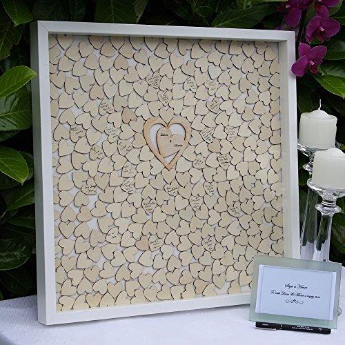 Libro de invitados para boda, Personalizado libro de invitados para firmas alternativa, marco de gota caja, rústico madera corazón libro de invitados, decoración de boda