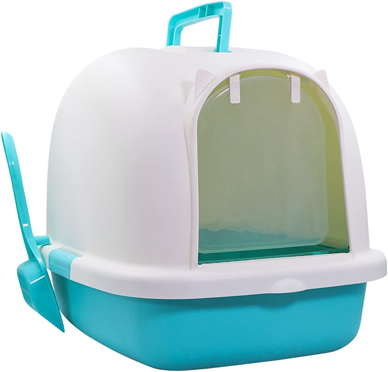 HTZ Cat Litter Box Fully Enclosed Deodorized Large Cat Sandbox Bedpan Antisplash Odorless Cat Toilet Cat Supplies 503839cm Pet Toilet A+ (color   blueE)